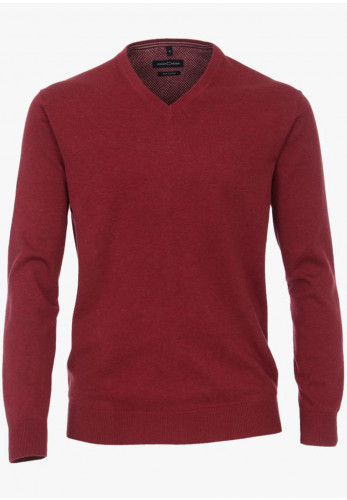 Casa Moda Pima Cotton V-Neck Sweater, Magenta