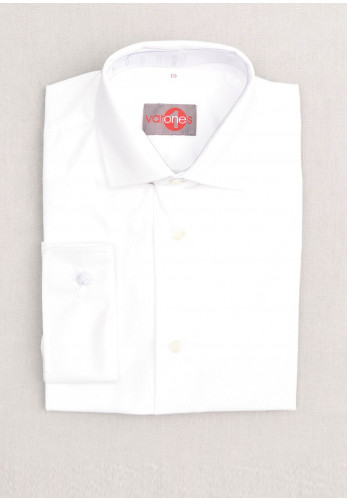 One Varones Boys Plain Cotton Shirt, White
