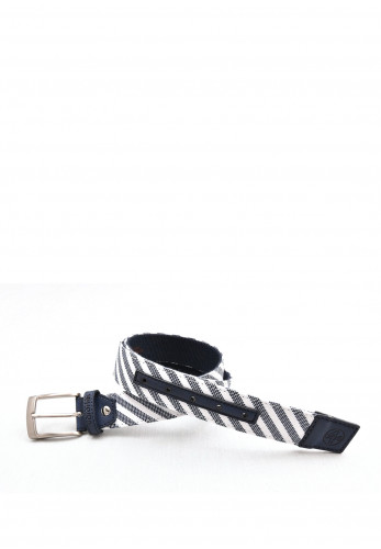 One Varones Stripe Effect Belt, Navy
