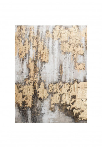 WJ Sampson Hand Painted Abstract Canvas Wall Art, Gold Multi