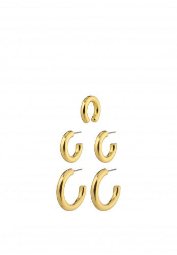 Pilgrim Reconnect chunky hoops and ear cuff 3-in-1 earrings, Gold
