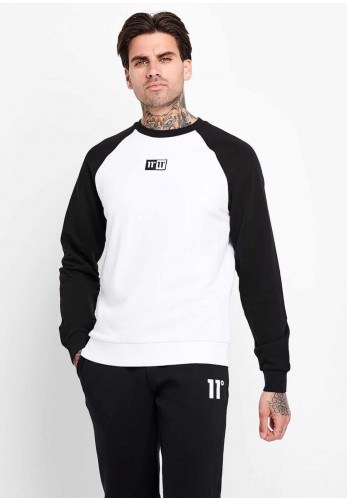 11 Degrees Onyx Crew Neck Sweater, White & Black