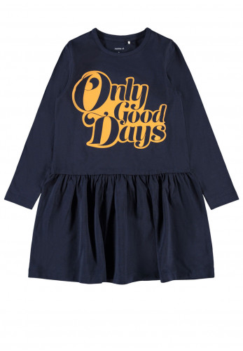 Name It Girls Ravna Only Good Days Dress, Navy Orange