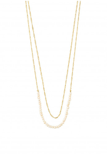 Pilgrim Native Beauty Freshwater Pearl and Chain Necklace, Gold