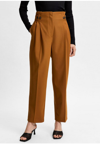 Selected Femme Leva High Waisted Trousers, Brown