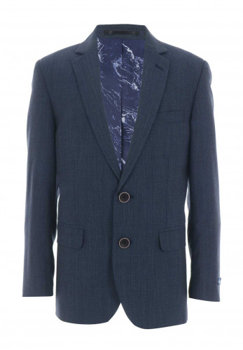 1880 Club Wool Blend Check Blazer, Navy