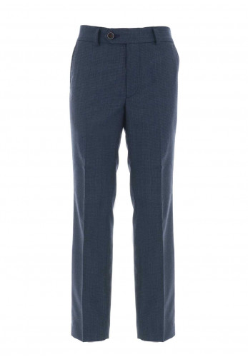 1880 Club Wool Blend Check Trousers, Navy