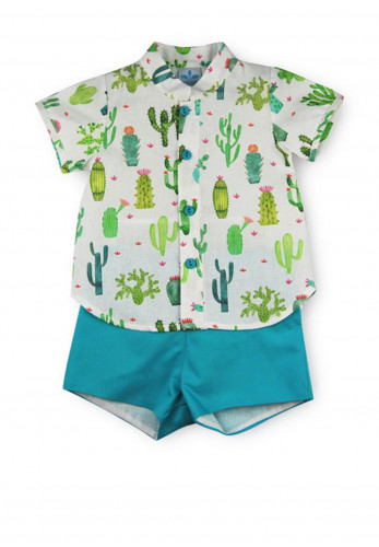 Sardon Baby Boys Cactus Print Shirt and Shorts, Green