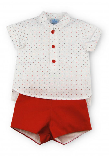 Sardon Baby Boys Sailor Shirt and Shorts, Red