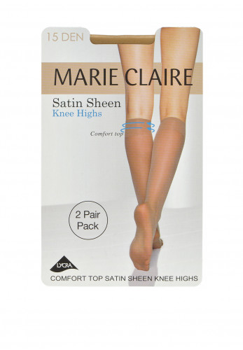 Marie Claire 15 Denier Satin Sheen Knee High Stockings Twin Pack Caresse, One Size