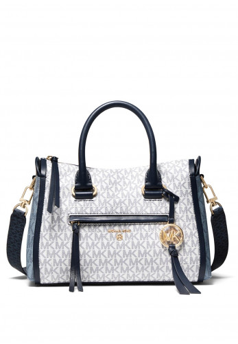 MICHAEL Michael Kors Carine Logo Canvas Satchel, Navy Multi