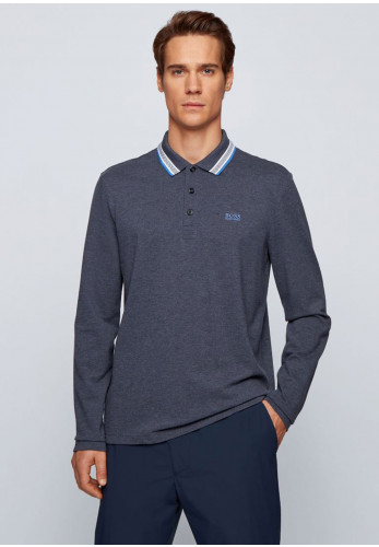 Hugo Boss Plisy Long Sleeved Polo Shirt, Dark Grey