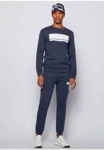 Hugo Boss Salbo Embossed Crew Neck Sweater, Navy