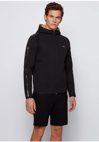 Hugo Boss Saggy Logo Tape Hoodie, Black