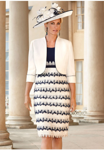 Condici Lace Scallop Dress & Jacket, White & Navy