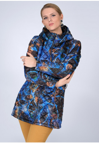 Dolcezza Belted Art Print Quilt Jacket, Blue Multi