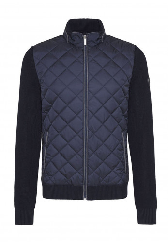Bugatti Quilted Full Zip Knit Jacket, Navy