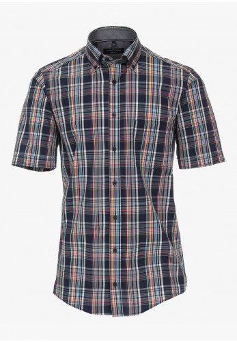 Casa Moda Short Sleeve Tartan Print Shirt, Navy Multi