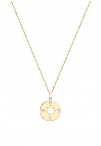 9 Carat Gold Cut Out Compass Disc Charm Necklace, Gold