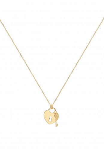 9 Carat Gold Heart and Padlock Charm Necklace, Gold