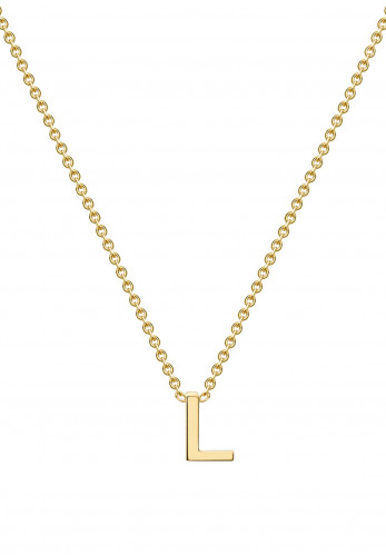 9 Carat Gold Initial L Necklace, Gold