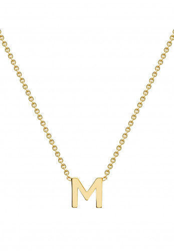 9 Carat Gold Initial M Necklace, Gold