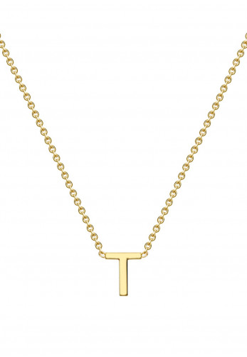 9 Carat Gold Initial T Necklace, Gold