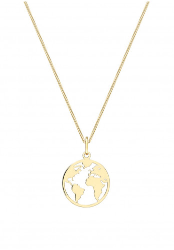 9 Carat Gold Cut Out World Disc Charm Necklace, Gold