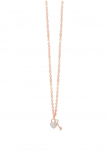 Absolute Lock & Key Crystal Necklace, Rose Gold