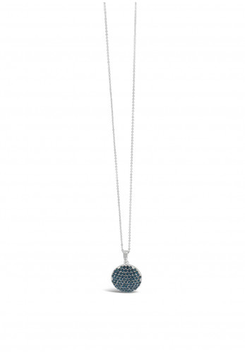 Absolute Midnight Blue Disk Necklace, Silver