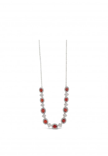 Absolute Silver Necklace with Small Red & White Crystal Stone Settings