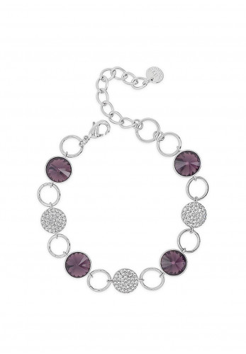 Absolute Silver Bracelet with Amethyst Stone Settings & Diamante Disks