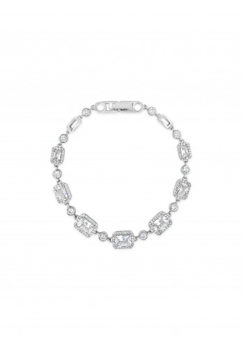 Absolute Rectangle Crystal Bracelet, Silver