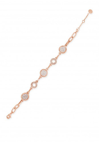 Absolute Circle and Crystal Link Bracelet, Rose Gold