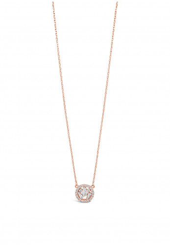 Absolute Rose Gold Diamante Cluster Circle Necklace, JP247RS