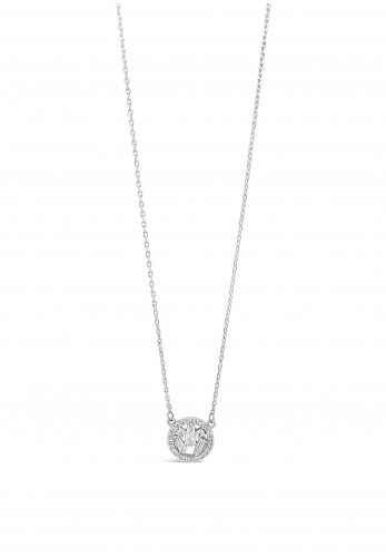 Absolute Silver Diamante Cluster Circle Necklace, JP247SL
