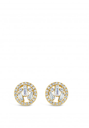 Absolute Gold Cluster Circle Stud Earrings, JE247GL