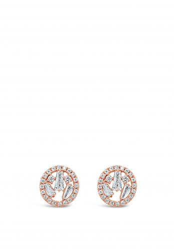 Absolute Rose Gold Cluster Circle Stud Earrings, JE247RS