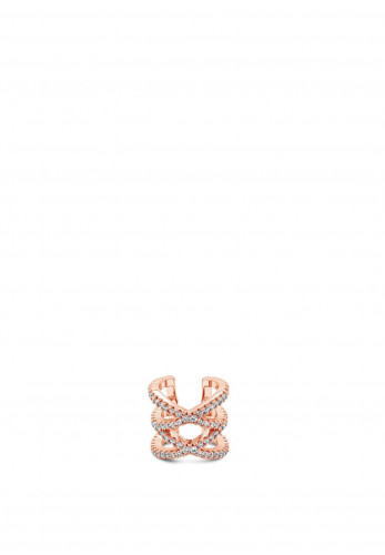 Absolute Crystal Crossover Ear Cuff, Rose Gold