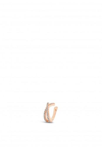 Absolute Twisted Crystal Ear Cuff, Rose Gold