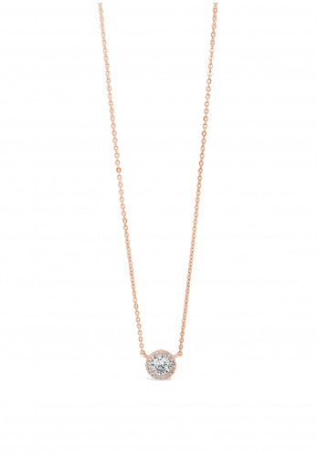 Absolute Rose Gold Diamante Round Pendant Necklace, JP236RS