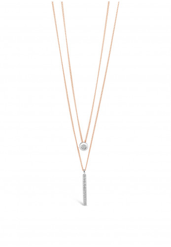 Absolute Rose Gold Double Chain Rose Gold Pendant Necklace, JP235RS