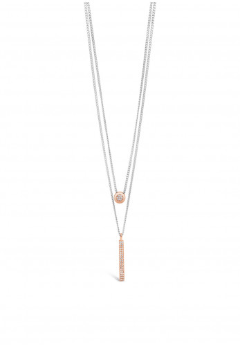 Absolute Silver Double Chain Rose Gold Pendant Necklace, JP235SL