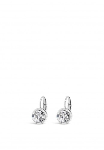 Absolute Round Diamante Earrings, Silver