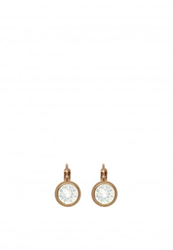 Absolute White Opal Drop Earrings, Rose Gold