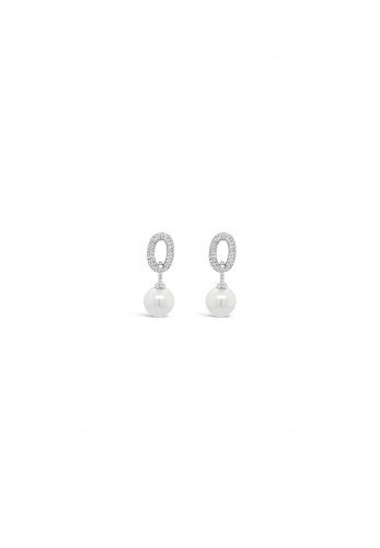 Absolute Diamante Interlinking Oval Drop with Pearl Earrings, Silver