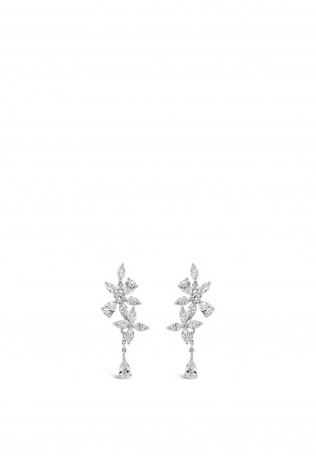 Absolute Silver Flower Drop Stud Earrings, JE246SL