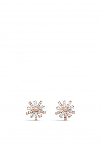 Absolute 2 Tone Flower & Pearl Diamante Stud Earrings, JE242MX