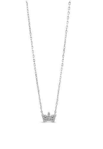 Absolute Holy Communion Silver Diamante Crown Necklace, HCP226