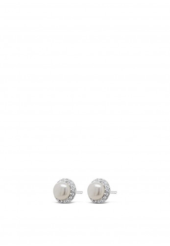 Absolute Holy Communion Silver Diamante with Pearl Earrings, HCE430